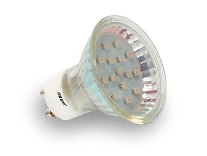 GU10 Sockel LED Lampe, Strahler Mit 15 SMD LEDs 3528 Mit Schutzglas  Warmweiß Spannung 230V