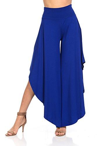 JDJ CO. Women's Layered Wide Leg Flowy Cropped Palazzo Pants, 3/4 Length High Waist Palazzo Wide Legs Capri Pants