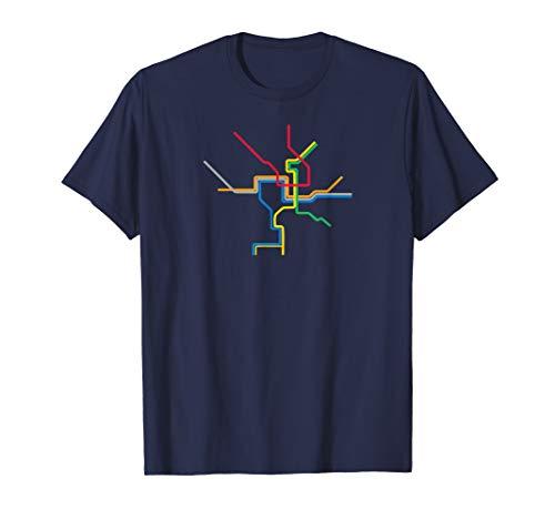 (Washington DC Metro Subway Map Shirt - Color Lines)