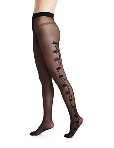 Collant 1345 Amoretu elastiche nere calze collant donna gva1gqR