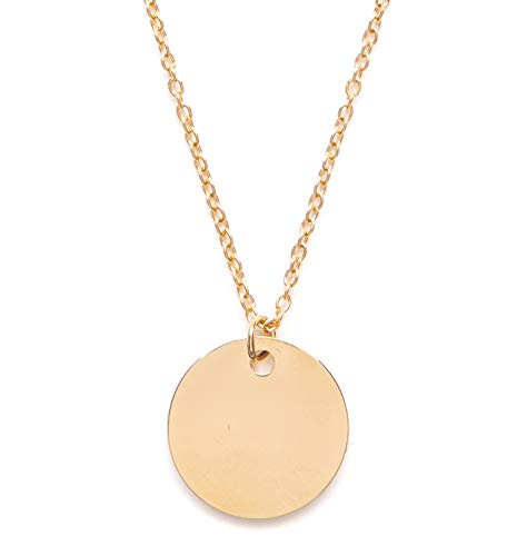 - Happiness Boutique Circle Necklace Gold Plated | Minimalist Delicate Necklace Round Coin Pendant Geometric Design