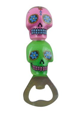 Boxer Gifts Bottle Opener Candy Skull-Pink/Green, One