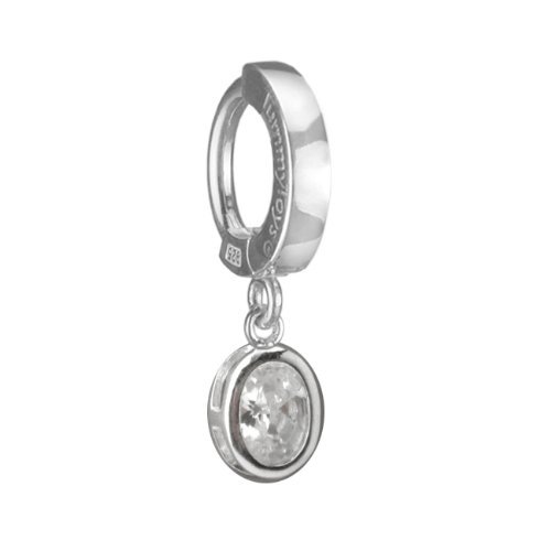 TUMMYTOYS SILVER NAVEL RING OVAL CZ DANGLE.TummyToys bell...