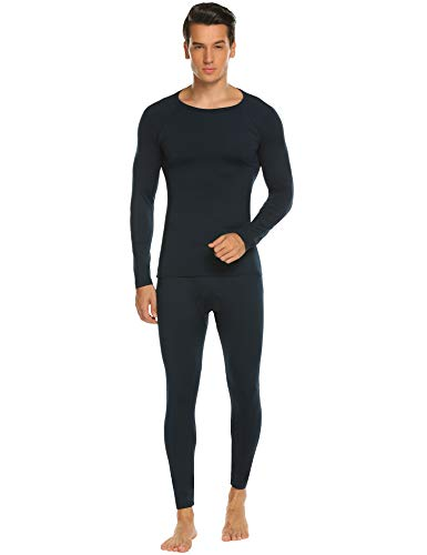 - HOTOUCH Men's Mid Weight Double-Layer Thermal Underwear Set Navy Blue XXL