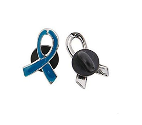 25 Blue Awareness Ribbon Pins Support colon, colorectal cancer, child abuse, respiratory ()
