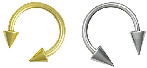 "16g Septum Rings Set of 2: 16 Gauge 5/16"" Surgical Steel & Gold IP Plated Spike Horseshoe Rings"