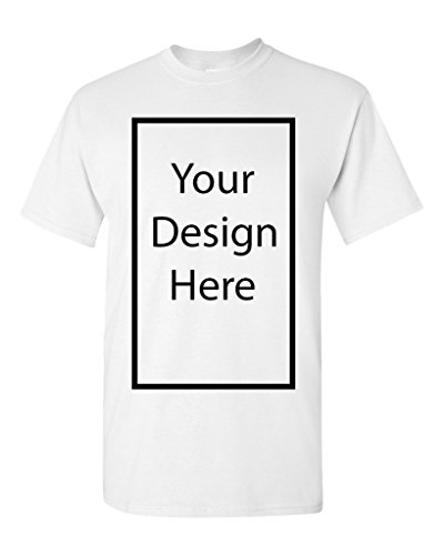Add Your Own and Text Design Custom Personalized Adult T-Shirt Tee (X Large, White)