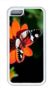 Beautiful Butterfly Flower Thanksgiving Rubber(TPU) white Case for Masterpiece Limited Design iPhone 5C by Cases & Mousepads