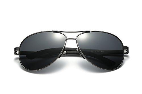 Gunmetal clásico sol Hombre Protección polarizado Aviador Polarizadas 400 Gafas MPTECK de UV Plata de Sol gafas el con y Negro pañuelo Plata caso aviador estuche tHwq7wYg