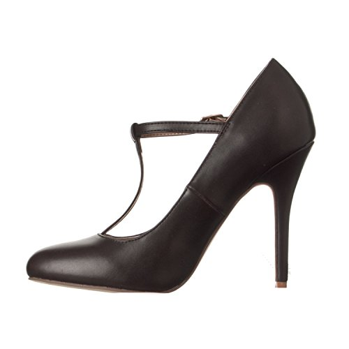Sadie Toe Pu Coffee High Heel T Pumps Women's Round Strap Riverberry q5fCpp