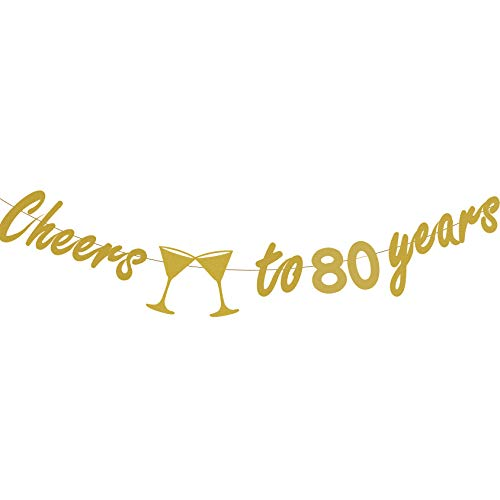80th BIRTHDAY PARTY DECORATIONS - Glittery Gold Cheers to 80 Years Banner,Perfect Party Supplies 80th Anniversary Decorations for 80th Birthday -