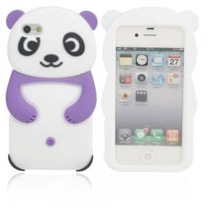 Lovely Panda Style Silicone Protective Case for iPhone 4/4S Purple