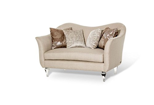 Michael Amini Rodeo Loveseat, Clear with Crystals