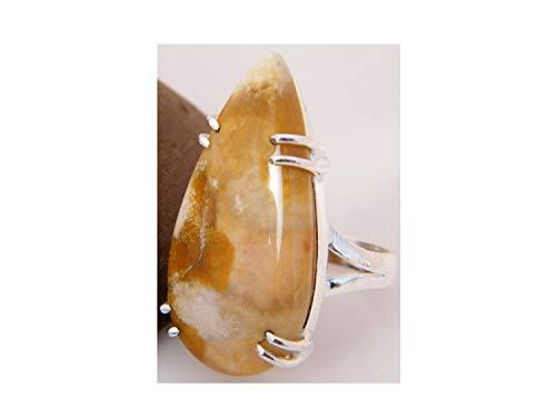 Surbhi Crafts Ocean Jasper Ring Silver Plated Ring Handmade Designer Ring Jewelry Adjustable Ring (Ring Size 7.5 USA) AH-11987