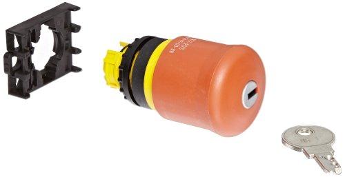 Eaton M22-PVS Mushroom Head Pushbutton, 22mm Diameter, Red Actuator, Pushlock Key Reset Action by Eaton