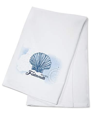 Falmouth, Cape Cod, Massachusetts - Scallop Shell - Blue - Coastal Icon (100% Cotton Kitchen Towel) (Cape Cod Falmouth)