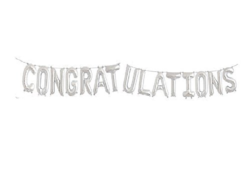 CONGRATULATIONS Foil Letter Balloons 3D Banner graduation CEREMONY WEDDING BABY SHOWER (SILVER) ()