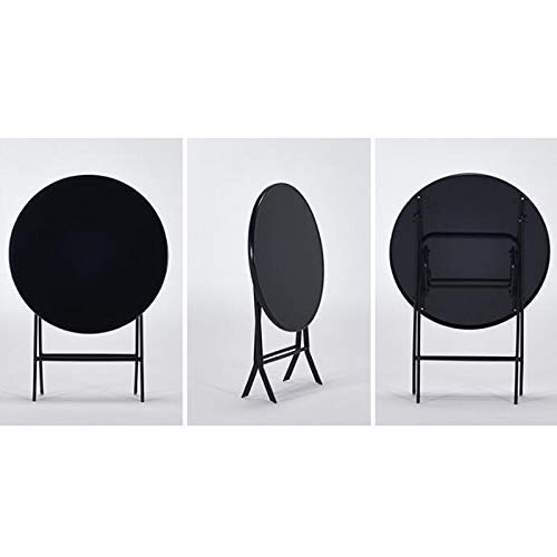 AOLI 1593/5000 Household Foldable Round Table/Tempered Glass Folding Table Outdoor Leisure Folding Table Super Tough, Load Capacity up to 60 Kg Folding Table,Black,Black ()