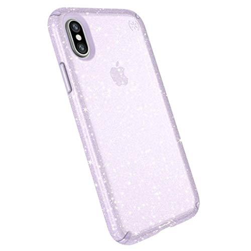 separation shoes af1b1 c7e97 Speck iPhone XS/X Case, Clear Glitter Protective Ultra Thin Slim Hard Anti  Scratch Presidio Cover Case - Purple Glitter