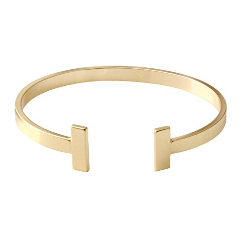 SENFAI Simple Double T Cuff Bracelet/Jewelry Set for Women (Thick Bracelet, Gold-Plated-Brass)