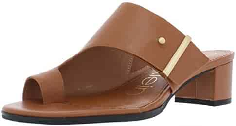 8a64949d7a Calvin Klein Womens Daria Leather Block Heel Dress Sandals Tan 7.5 Medium (B ,M