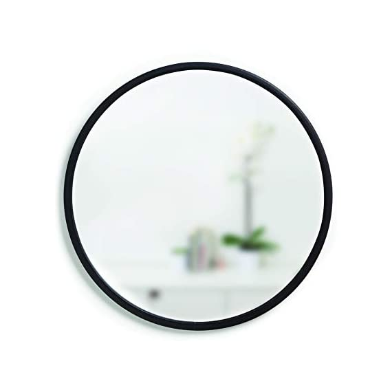 Umbra 1008243-040 Hub Wall Mirror With Rubber Frame - 24-Inch Round Wall Mirror for Entryways, Washrooms, Living Rooms and More, Doubles as Modern Wall Art, Black - LARGE, ROUND MIRROR: Hub is a 24-inch diameter mirror, with contemporary rubber frame that looks great in any room DECORATIVE RUBBER FRAME: Hub's innovative rubber frame not only adds to the look of this large wall mirror, but also doubles as a protective bumper; making it ideal for high-traffic areas or for use as a bathroom mirror BOOSTS LIGHT: Hub's large size is ideal for reflecting both natural and artificial light to help brighten any room, day or night - mirrors-bedroom-decor, bedroom-decor, bedroom - 31kDA%2BMJNrL. SS570  -