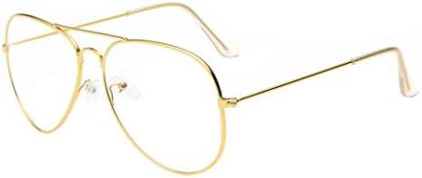Mchoice Men Women Clear Lens Glasses Metal Spectacle Frame Myopia Eyeglasses Lunette Femme Glasses (Gold)
