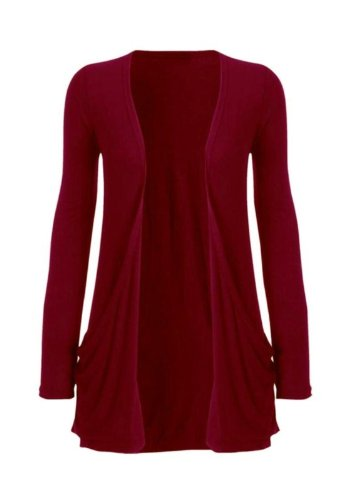 Hot Hanger Ladies Plus Size Pocket Long Sleeve Cardigan 16-26 : Color – Wine : Size – 16-18 LXL