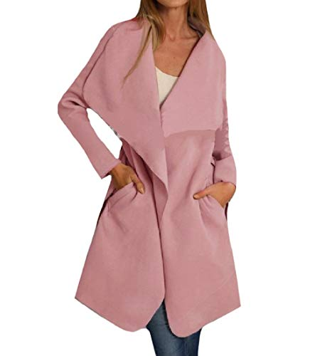 Down Tasche Pink Collar Outwear Di Con Cintura Women Turn Overcoat Lana Rkbaoye Big FUqZ87AROF