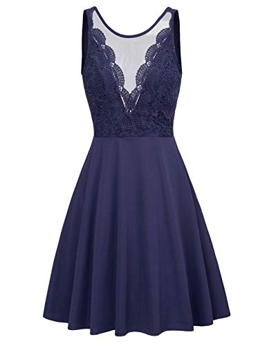 Women Sleeveless Lace Patchwork Open Back A Line Flare Party Dress M Navy Blue (Backless-High)
