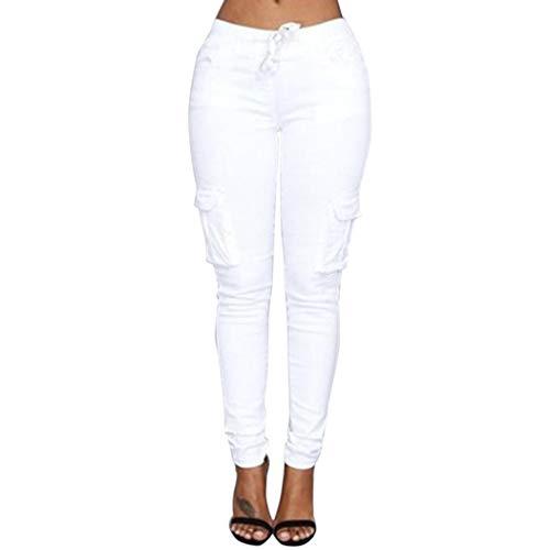 Elecenty Donna Elasticizzati Da Bianco Casual Alta Stretch Pantaloni A Vita Pencil Eleganti Slim wx4fwP