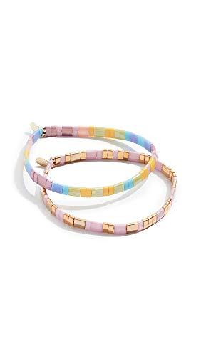 Shashi Women's Tilu Set of 2 Bracelets, Gold/Pink/Tyedye, One Size