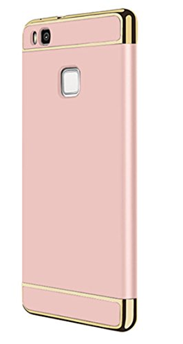 Neivi Huawei P9 Lite Case, 3 In1 Ultra Slim Full Protective Hard Anti-Scratch Shockproof Electroplate Frame with Metal Texture Armor PC Hard Back Case Cover & Skin for Huawei P9 Lite (Rose Gold)