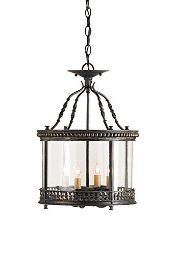 Grayson Panel - Currey and Company 9045 Grayson 4-Light Ceiling Lantern, French Black Finish with Vintage Glass Panels