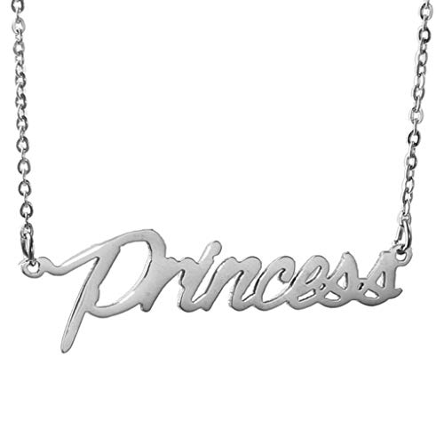 AIJIAO Steel Script Nameplate Name Necklace Personalized Choker Women Gift/Princess Silver ()