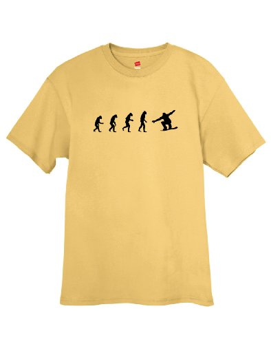 Gold Mens Snowboard Binding - ShirtLoco Men's Evolution Of Man To Snowboarder T-Shirt, Gold Nugget 2XL