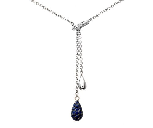 Naava - Colliers - Femme - Or Blanc 375/1000 (9 Cts) 2.8 Gr - Diamant/Saphir