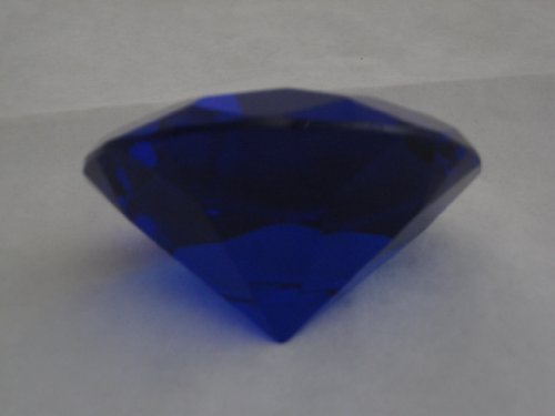 (1 X Dark Blue Glass Diamond Shaped Paperweight 3.15 INCHES (80 MM))