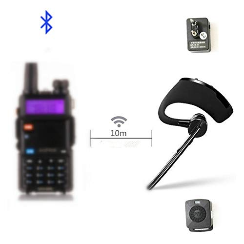 HB-6A Walkie Talkie Bluetooth PTT earpiece Handfree Wireless Headphone Headset Mic Compatible with BaoFeng UV-82 UV-5R BF-888S/ TYT/Kenwood Two Way Radio