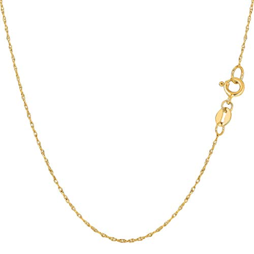 14K Yellow or White Gold .40mm Shiny Classic Rope Chain Necklace for Pendants and Charms with Spring-Ring Clasp (16