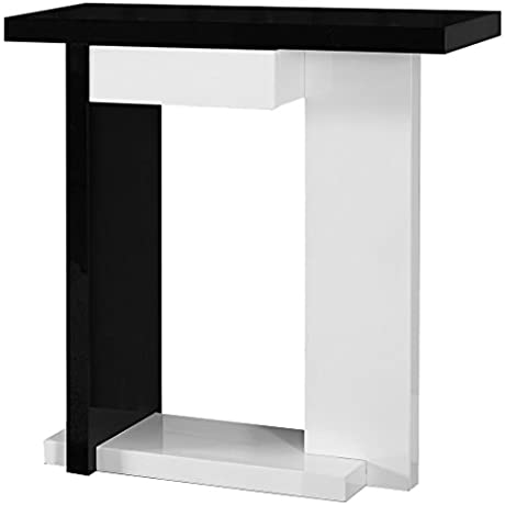 Monarch Specialties Glossy White Black Hall Console Accent Table 32 Inch