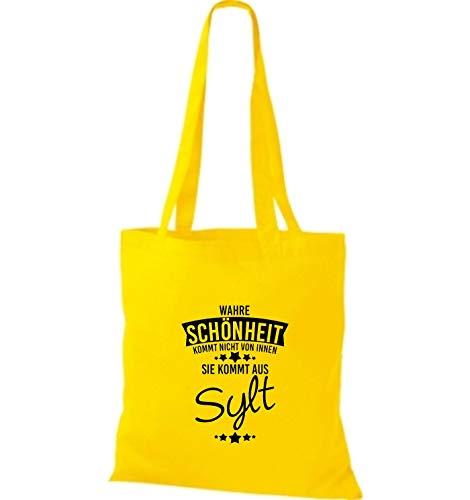 Verdadero De Belleza Dorado Amarillo Tela Viene Aus Sylt Bolsa Shirtstown 7twI5t