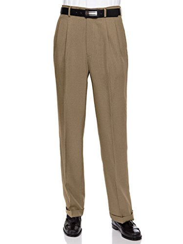 RGM Men's Work To Weekend Pleated Front Dress Pant Taupe-Microfiber 40 Long (Double Pleated Dress Pants)