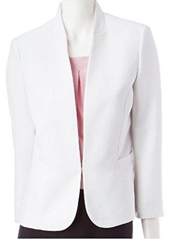 Textured Blazer Jacket (Kasper Women's Plus Textured Swirl Crepe Jacket, White (14W))