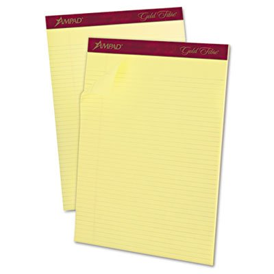Ampad® Gold Fibre Pads, Narrow/Margin Rule, Ltr, Canary, 12 50-Sheet Pads/pack