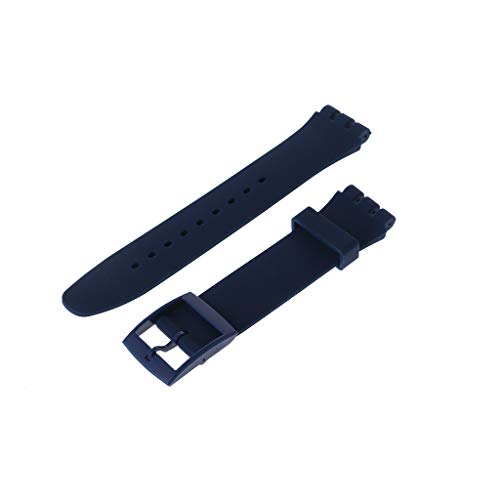 huanban072 Silicone Rubber Watch Band Strap Waterproof Wristband Buckle Watchband for Swatch 17mm Replacement Accessories (White) by huanban072 (Image #5)