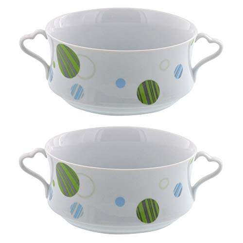 Zen Table Japan Double Handled Soup Bowls Set of 2 - White with Polka Dots