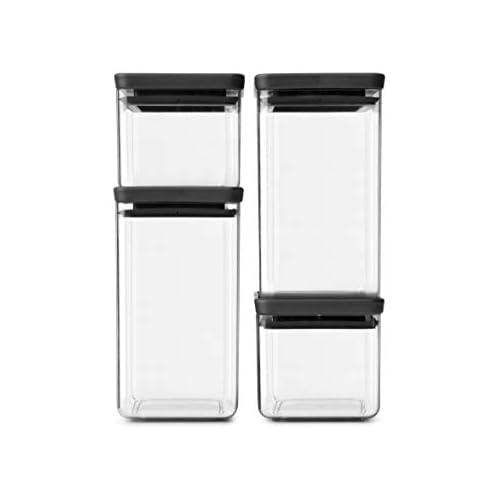 chollos oferta descuentos barato Brabantia Tasty Set de 4 botes apilables cuadrados de plástico transparente 2 x 0 7 l 2 x 1 6 l tapa dark grey