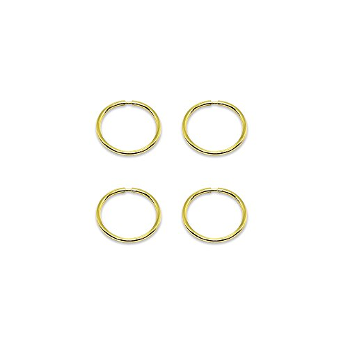 14K Gold Tiny Small Endless 10mm Round Thin Lightweight Unisex Hoop Earrings, Set of 2 Pairs by Hoops 4 Less