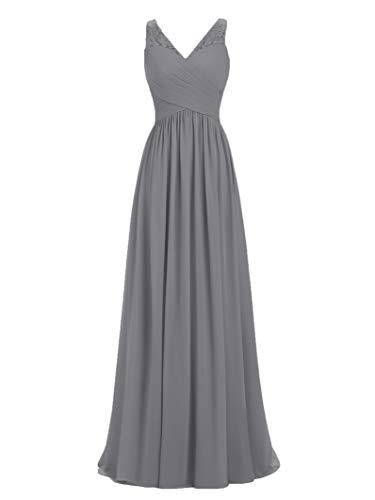 Lines Clothing Custom - A-line V-Neck Chiffon Long Empire Bridesmaid Dresses Simple Prom Dresses Dark Grey